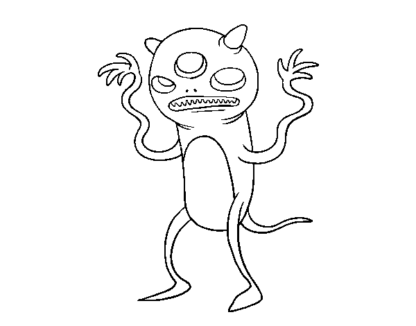 Dibujo de Monstruo de tres ojos para Colorear - Dibujos.net