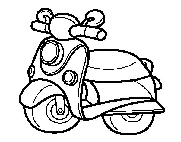 Dibujo de Moto Vespa para Colorear - Dibujos.net