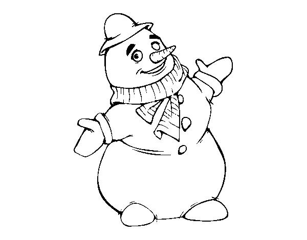 Muñeco De Nieve Dibujo: Dibujo De Muñeco De Nieve Sonriendo Para Colorear