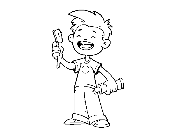 Dibujo Dientes Para Colorear E Imprimir: Dibujo De Niño Con Cepillo De Dientes Para Colorear