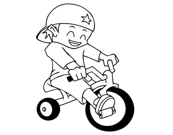 Dibujo de Niño en triciclo para Colorear - Dibujos.net