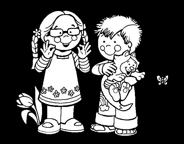 Dibujo de Niños en el campo para Colorear - Dibujos.net