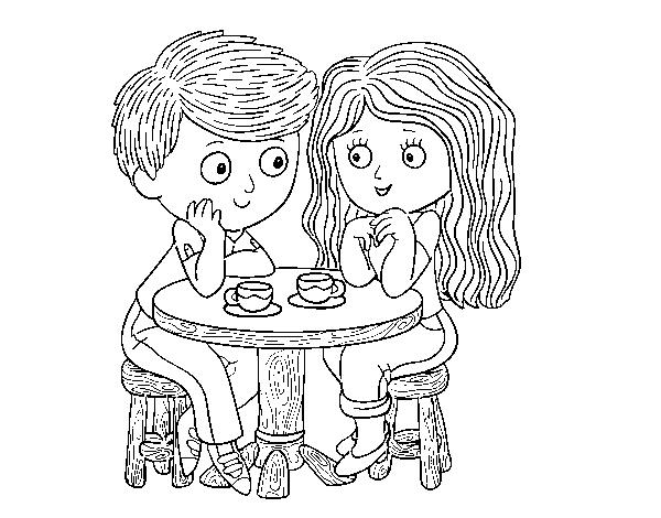 Dibujo de Niños tomando café para Colorear - Dibujos.net