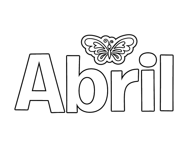 Dibujo De Nombre Abril Para Colorear Dibujosnet