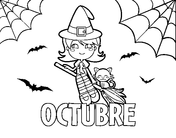 Dibujo de Octubre para Colorear - Dibujos.net