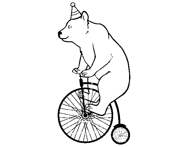 Dibujo de Oso en bicicleta para Colorear - Dibujos.net