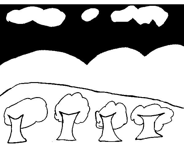 Dibujo de Paisaje con montañas para Colorear - Dibujos.net
