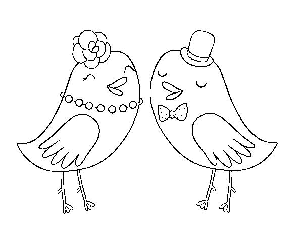 Dibujo de Pajaritos de boda para Colorear - Dibujos.net