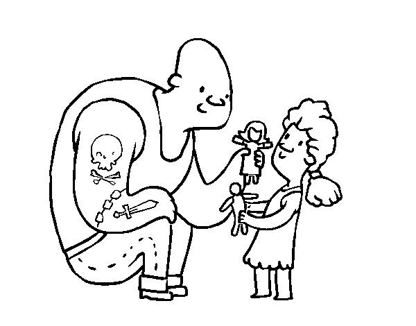 Dibujo de Papá con Tatuajes para Colorear - Dibujos.net