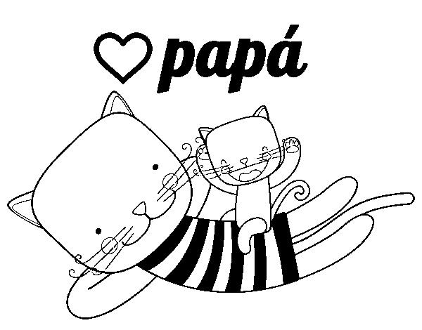 Dibujo de Papá gato para Colorear - Dibujos.net