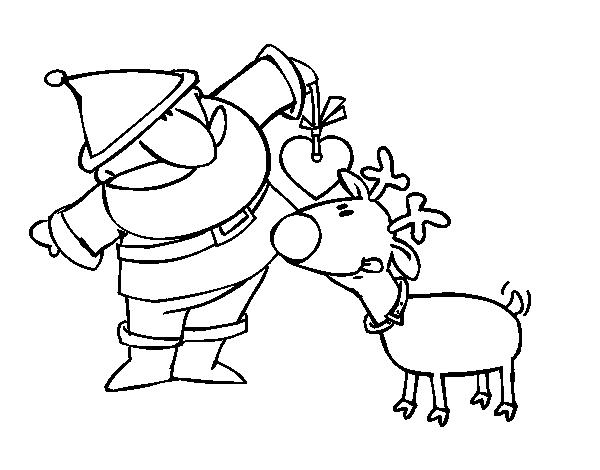 Dibujo de Papá Noel y Rudolf para Colorear - Dibujos.net