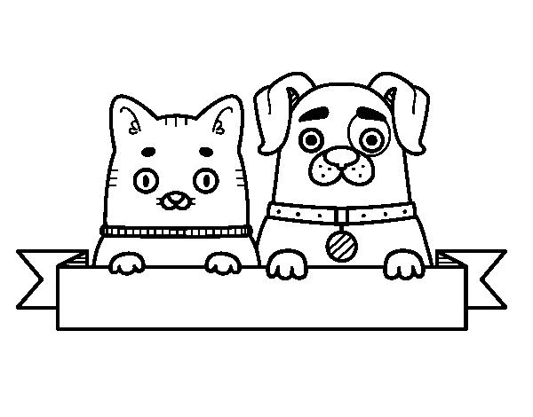 Dibujo De Perrito Y Gatito Para Colorear Dibujosnet