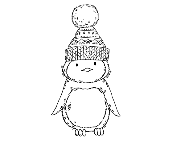 Dibujo de Pingüino con gorro de invierno para Colorear - Dibujos.net