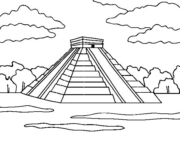 Dibujo de Pirámide de Chichén Itzá para Colorear - Dibujos.net