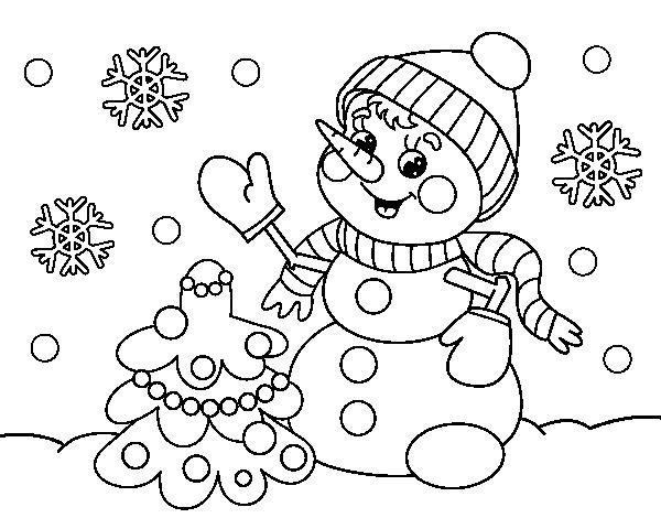 Dibujo De Postal De Navidad Muñeco De Nieve Para Colorear Dibujosnet
