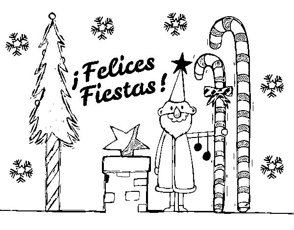 Dibujo de Postal Felices Fiestas para Colorear - Dibujos.net