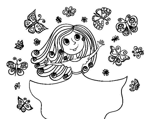 Dibujos Para Colorear E Imprimir De Mariposas: Dibujo De Princesa De Las Mariposas Para Colorear