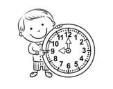 Dibujo De Niña Con Reloj Para Colorear Dibujosnet