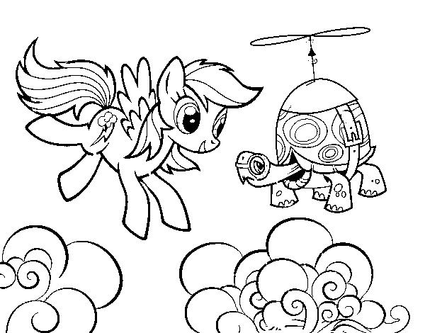 Dibujo de Rainbow Dash y la tortuga tanque para Colorear - Dibujos.net