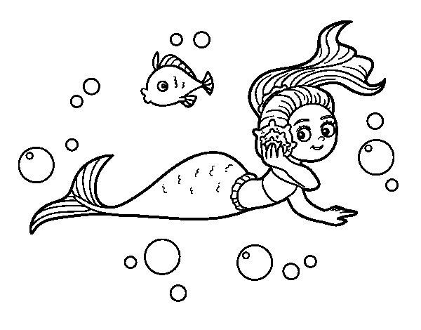 Sirenas Para Colorear En Linea: Dibujo De Sirena Mágica Para Colorear
