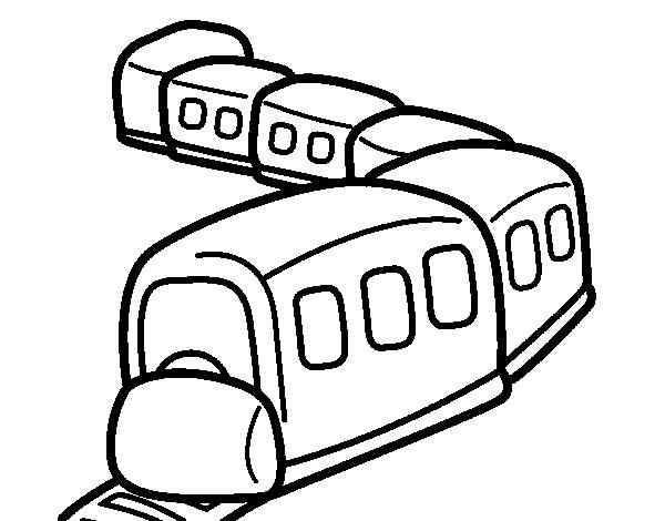 Dibujo de Tren en camino para Colorear - Dibujos.net