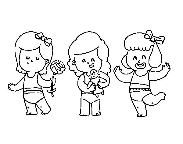 Dibujo de Trillizas para Colorear - Dibujos.net