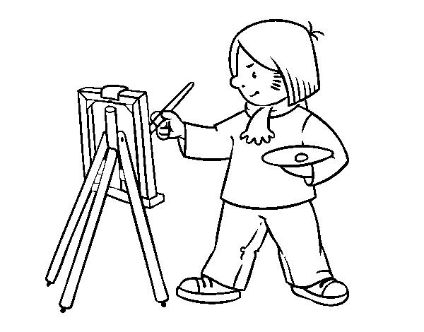 Dibujo de Un artista para Colorear - Dibujos.net