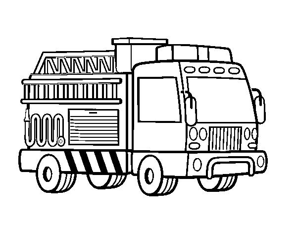 Dibujo de Un camión de bomberos para Colorear - Dibujos.net
