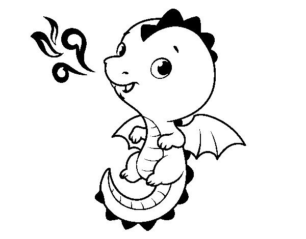Dibujo de Un dragón bebé para Colorear - Dibujos.net