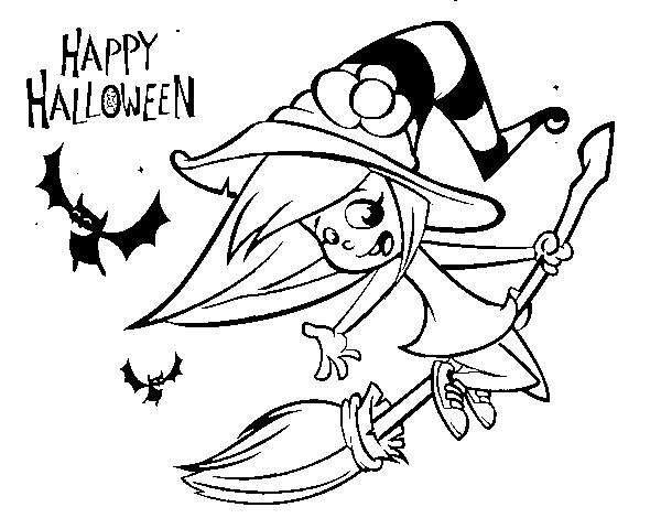 Dibujo de Una brujita de Halloween para Colorear - Dibujos.net