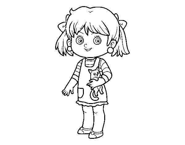Dibujo de Una niña con gatito para Colorear - Dibujos.net