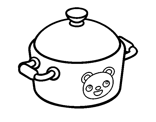 Dibujo De Una Olla De Cocina Para Colorear Dibujosnet