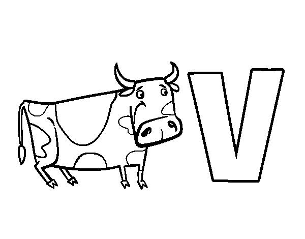 Dibujo De V De Vaca Para Colorear Dibujosnet